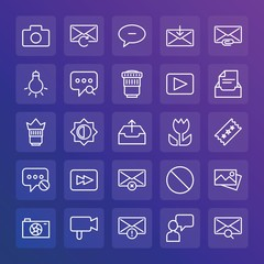 Modern Simple Set of chat and messenger, video, photos, email Vector outline Icons. ..Contains such Icons as  get,  phone, overfilled and more on gradient background. Fully Editable. Pixel Perfect.