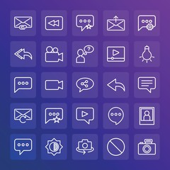 Modern Simple Set of chat and messenger, video, photos, email Vector outline Icons. ..Contains such Icons as  message,  video,  camera and more on gradient background. Fully Editable. Pixel Perfect.