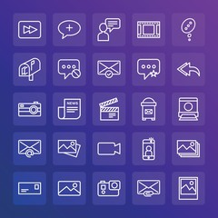 Modern Simple Set of chat and messenger, video, photos, email Vector outline Icons. ..Contains such Icons as  think,  technology, image and more on gradient background. Fully Editable. Pixel Perfect.