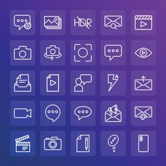 Modern Simple Set of chat and messenger, video, photos, email Vector outline Icons. ..Contains such Icons as  internet,  device, camera and more on gradient background. Fully Editable. Pixel Perfect.