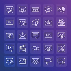 Modern Simple Set of chat and messenger, video, photos, email Vector outline Icons. ..Contains such Icons as  retro,  reply,  video and more on gradient background. Fully Editable. Pixel Perfect.