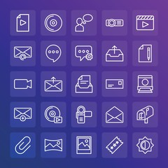 Modern Simple Set of chat and messenger, video, photos, email Vector outline Icons. ..Contains such Icons as  light,  mail,  disk, movie and more on gradient background. Fully Editable. Pixel Perfect.