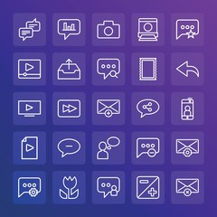 Modern Simple Set of chat and messenger, video, photos, email Vector outline Icons. ..Contains such Icons as  iso, favorite,  house and more on gradient background. Fully Editable. Pixel Perfect.