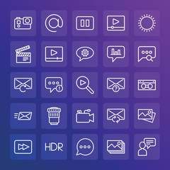 Modern Simple Set of chat and messenger, video, photos, email Vector outline Icons. ..Contains such Icons as  alert,  button,  problem and more on gradient background. Fully Editable. Pixel Perfect.