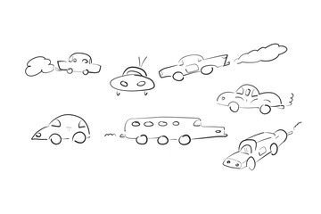Different cars sketch on white background. Abstract drawing machines in a variety of shapes.