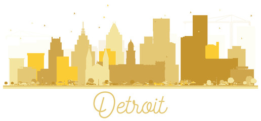Detroit USA City Skyline Golden Silhouette.
