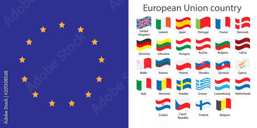 Europe Union Countries Flags Set Stock Image And Royalty Free