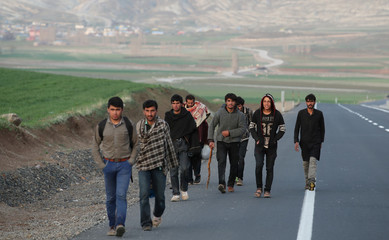 Group of Afghan migrants walk along a main road after crossing the Turkey-Iran border near Dogubayazit
