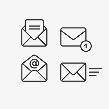 Mail vector icon set. Email, post, letter, envelope, newsletter collecton isolated on white. Line outline thin flat design, adapted e-mail icon set for web, web site, mobile app, UI
