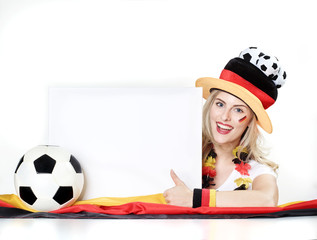 Girly soccer fan with message board
