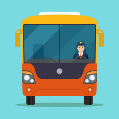 Passenger bus with Smiling driver in Windows. Vector flat style illustration