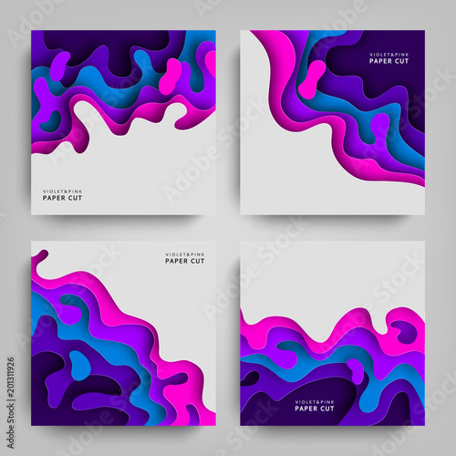 paper cut collection abstracts backgrounds with paper cut shapes