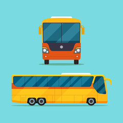 Passenger bus view side and front. Vector flat style illustration