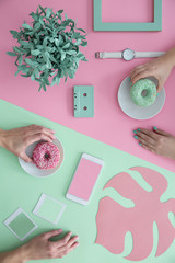 Pink and mint background