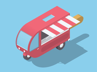 Isometric Style Food Truck Like Rectangular Fruit Ice Cream On Stick.