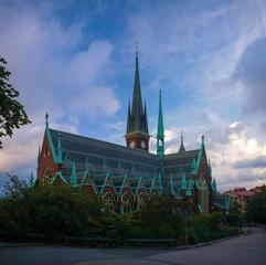 Exterior view to Oscar Fredriks Kyrka at Gothenburg, Sweden