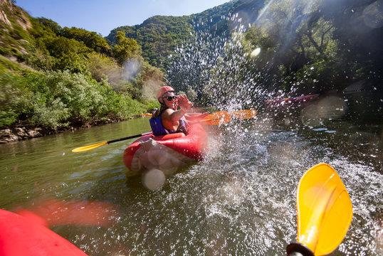 Canoe Water Joy Splashes Fun