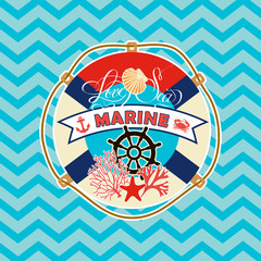 marine elements. scrapbook, greeting card, poster, logo