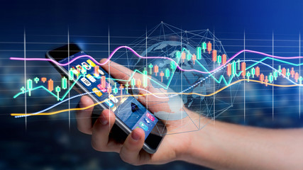 Businessman usng a smartphone with a 3d render Stock exchange trading data information display on a futuristic interface