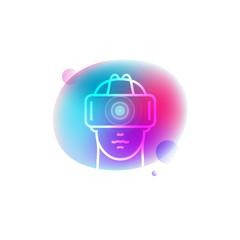 VR glasses neon icon