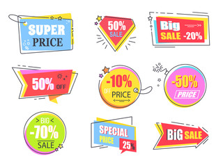 Big Super Sale Promotional Stickers with Stars Set