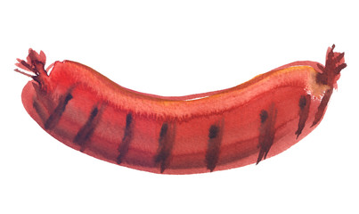 Single curved grilled sausage painted in watercolor on clean white background