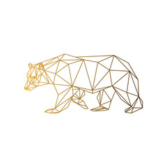 Geometric low-poly bear banner. Abstract outline polygonal animal. Isolated triangle bear on white background. Golden gradient