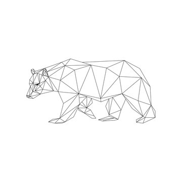 Geometric low-poly bear banner. Abstract outline polygonal animal. Isolated triangle bear on white background.