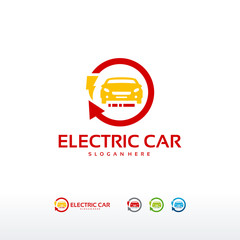 Electric Car logo designs concept vector, Car Technology logo template vector Illustration