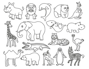 Wild animals black and white graphic in the line style