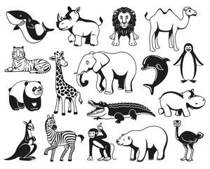 Wild animals black and white graphic silhouette