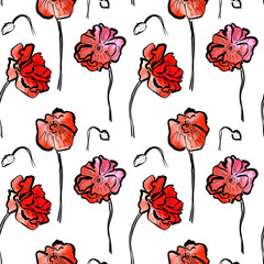 Seamless pattern with watercolor red poppies on white background
