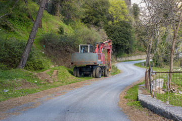 Construction road truck parked in countryside