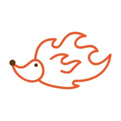 Icon hedgehog - fire. Funny little girl for your design. The vector illustration. Logo.