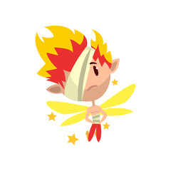 Little winged fiery elf boy with eye patch, cute fairytale character vector Illustration on a white background