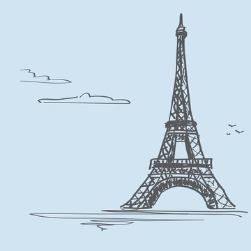 """Postcard """"Loved Paris"""". Vector illustration with the image of the Eiffel Tower"""