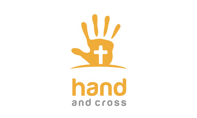 Hand with Cross for Christian logo design inspiration