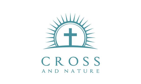 Nature Christian Jesus Cross Church Logo design