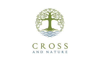 Tree of Life Nature Church Christian Jesus Cross Plant Root logo design inspiration