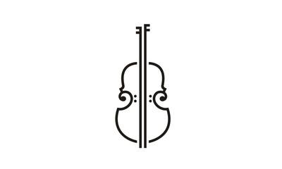 Line Art Violin Viola Fiddle Cello bass music instrument logo design inspiration