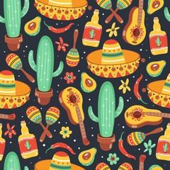 Cinco De Mayo seamless pattern. Mexican culture symbols. Guitar, sombrero, maracas, cactus, jalapeno and tequila.