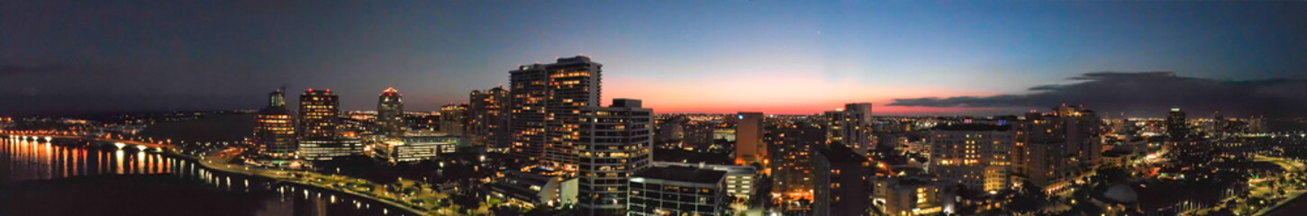 Panoramic sunset aerial view of West Palm Beach skyline, Florida Wall mural