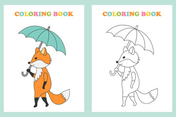 Coloring book with a picture of a fox.