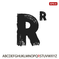 """Black capital handwritten vector letter """"R"""" on a white background. Drawn by semi-dry brush with unpainted areas."""