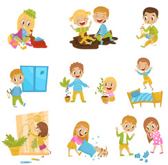 Cute little bully kids set, hoodlum cheerful children, bad child behavior vector Illustrations on a white background