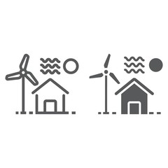 House with windmill line and glyph icon, real estate and home, ecology sign vector graphics, a linear pattern on a white background, eps 10.