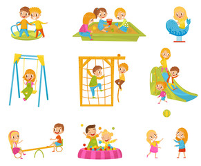 Happy kids playing outdoors set, children on a playground vector Illustrations on a white background