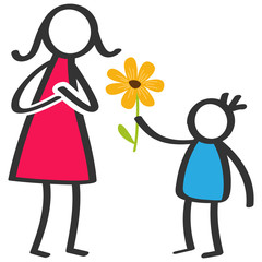 Simple colorful stick figures family, boy giving flower to mother on Mother's Day, birthday isolated on white background