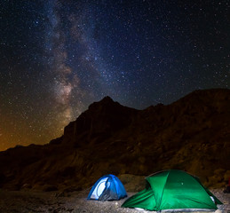 night touristic camp among a mountain under a night starry sky