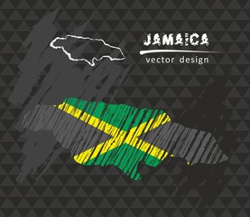 Jamaica map with flag inside on the black background. Chalk sketch vector illustration